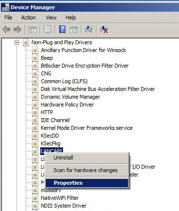 Non plug and play drivers in device manager